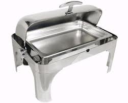 A Chafing Dish, silver, stainless steel, roll-top, 27.25