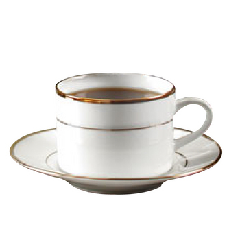 Gold band coffee cup & saucer, 8oz