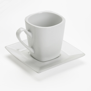 Square coffee cup & saucer, white, 8oz