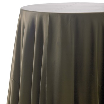 Tablecloth chocolate satin 120 round for 120 table cloth rental