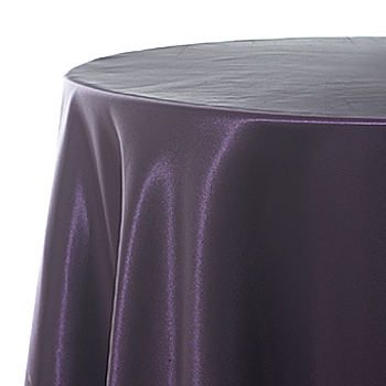 Tablecloth plum satin 120 round for 120 table cloth rental