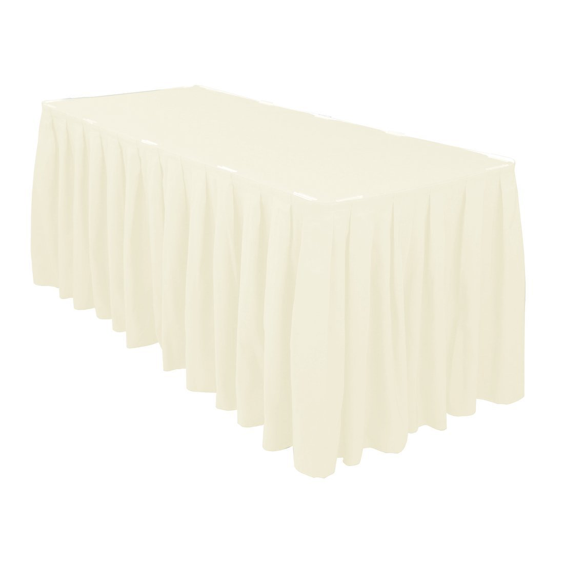 Table skirt, ivory, poly, 13'x30