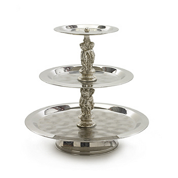 Stand, stainless steel, 3 tier, small, round