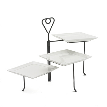 Stand, black, porcelain, 3 tier, square