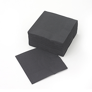 Beverage napkin, black, paper, 50pack
