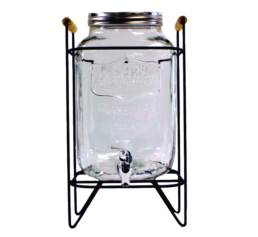 Mason Jar Beverage Dispenser, glass, 9L